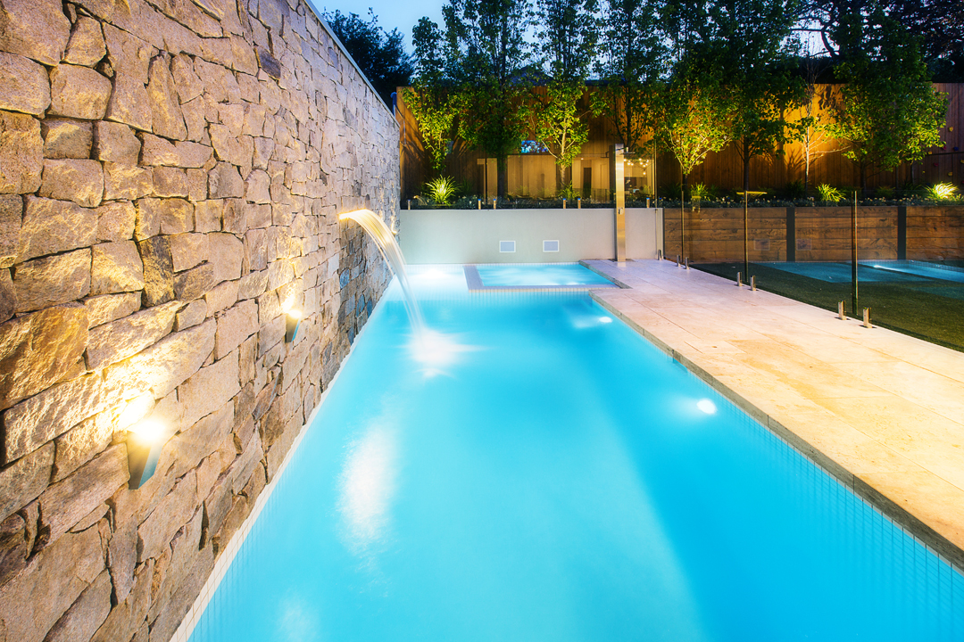 Aquacon pools landscaping project 1 melbourne pool and outdoor design for Outdoor swimming pools melbourne