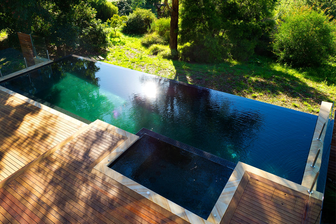 Ultimate Swimming Pools & Spas pool shot from above with decking