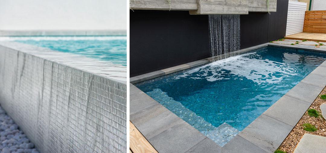Ezarri Australian Design tiles in 'White Russian' (left) ; Ezarri Zen tiles in 'Dolerite' (right)